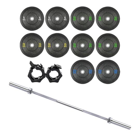 Treniraj.si Hi-Temp bumper set uteži 120 kg + olimpijska performance palica + varovala