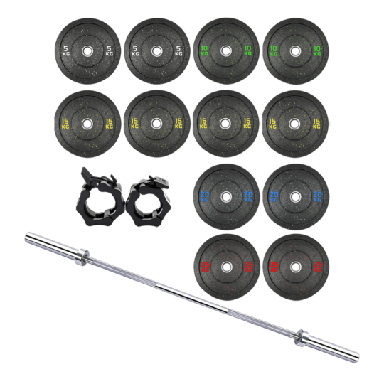 Treniraj.si Hi-Temp bumper set uteži 180 kg + olimpijska performance palica + varovala