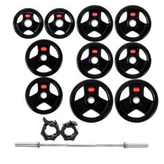 Treniraj.si set gumiranih disk uteži 120 kg + olimpijska performance palica + varovala