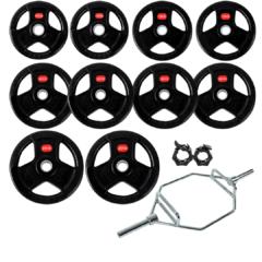 Treniraj.si set gumiranih disk uteži 180 kg + olimpijska trap palica + varovala