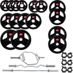 Treniraj.si set gumiranih disk uteži 180 kg + olimpijska tris palic + 3x varovala