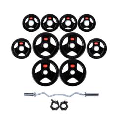Treniraj.si set gumiranih disk uteži 80 kg + olimpijska EZ palica + varovala