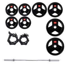 Treniraj.si set gumiranih disk uteži 80 kg + olimpijska performance palica + varovala
