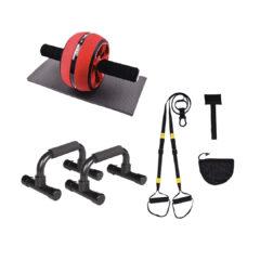 Treniraj.si suspenzijski vadbeni trakovi TRX + kolo za trebušnjake + ročke za sklece